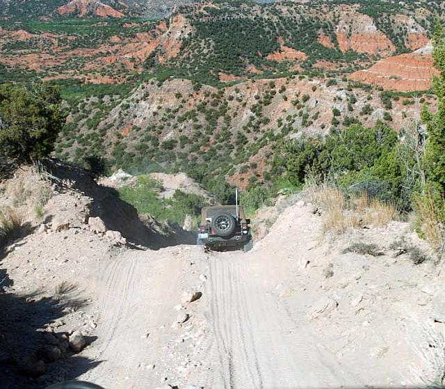 Steep descent into the canyon on the horse trail