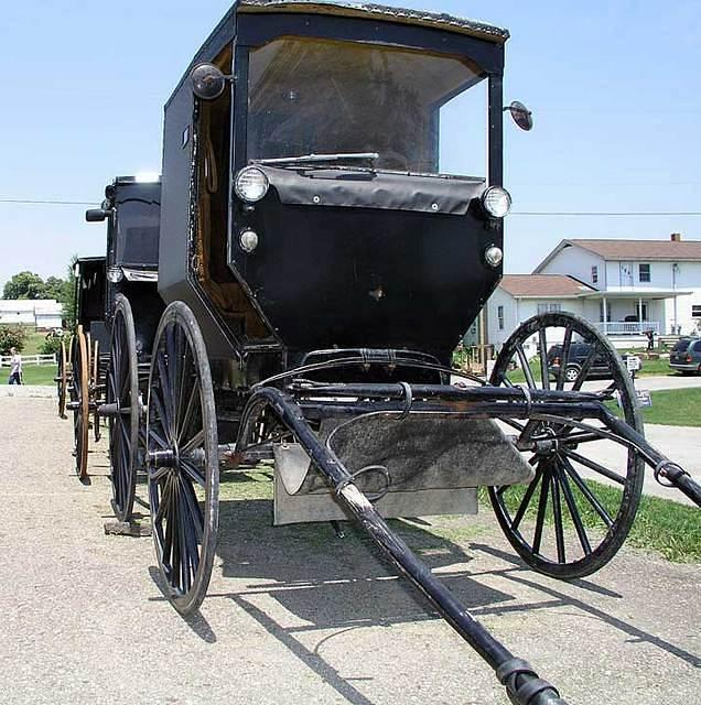 Amish buggies lined up for sale
