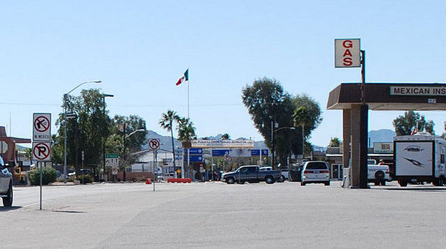 Lukeville border crossing into Mexico.  The park has a long border with Mexico