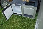 Outdoor bar fridge, storage and induction cooktop